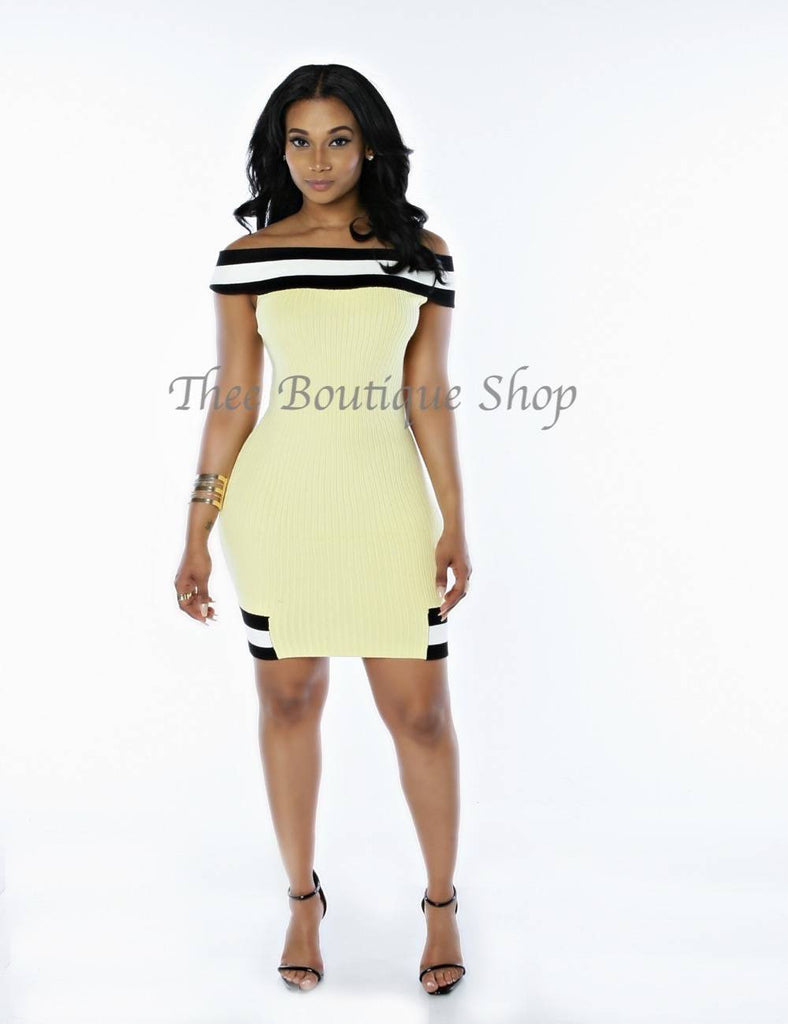 The Spring Varsity Knit Off The Shoulder Dress (Yellow)