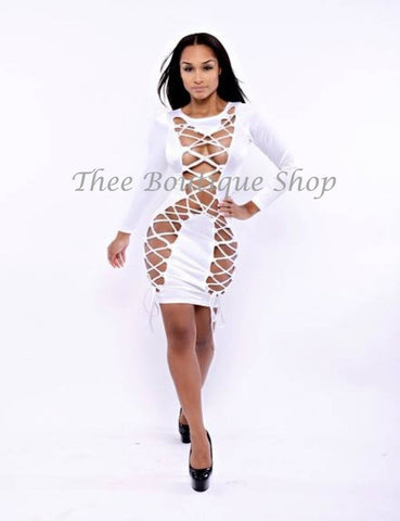 The Showstopper Lace Up Dress (White)