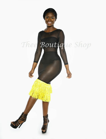 The Paradise Illusions Fringe Dress (Yellow)
