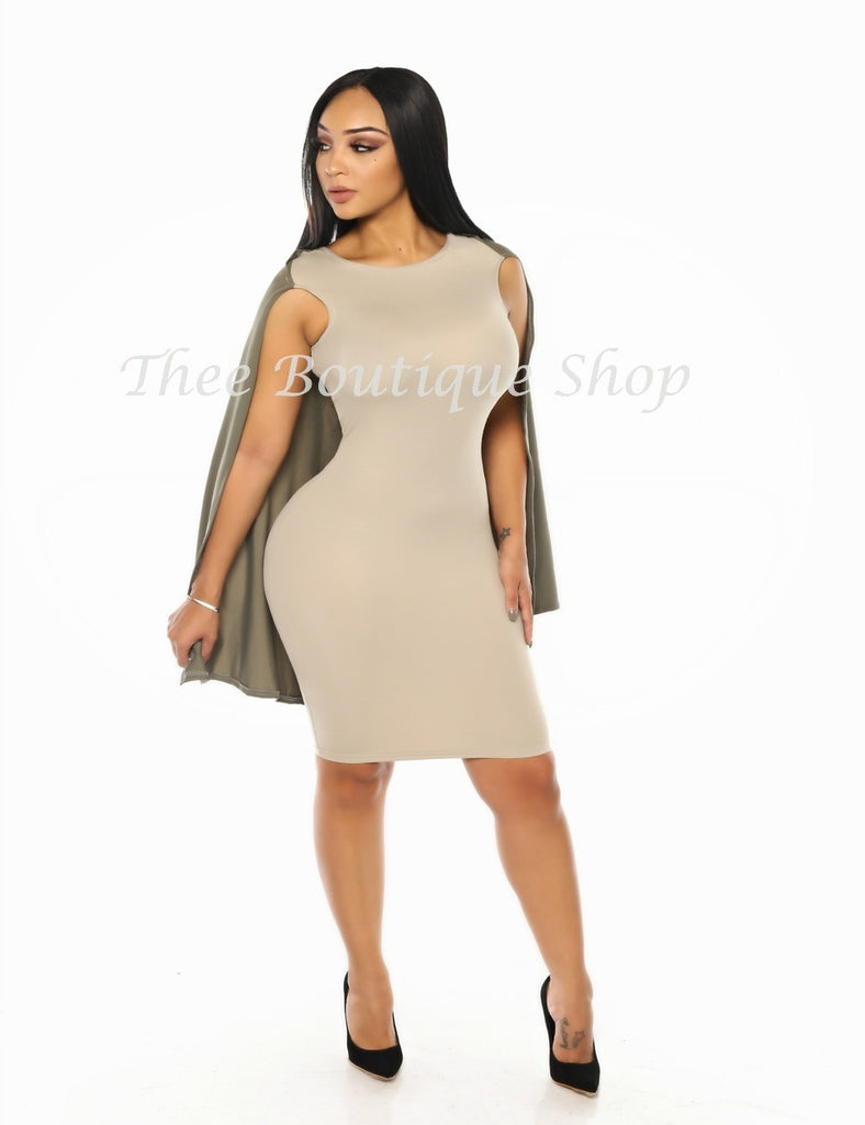 The Fall Dual Capelet Dress (Cement)
