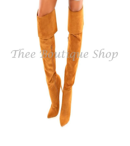 Morgan Over The Knee Boot-Chestnut