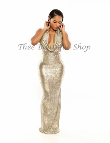 The Resort Versatile Halter Maxi Dress (Gold)