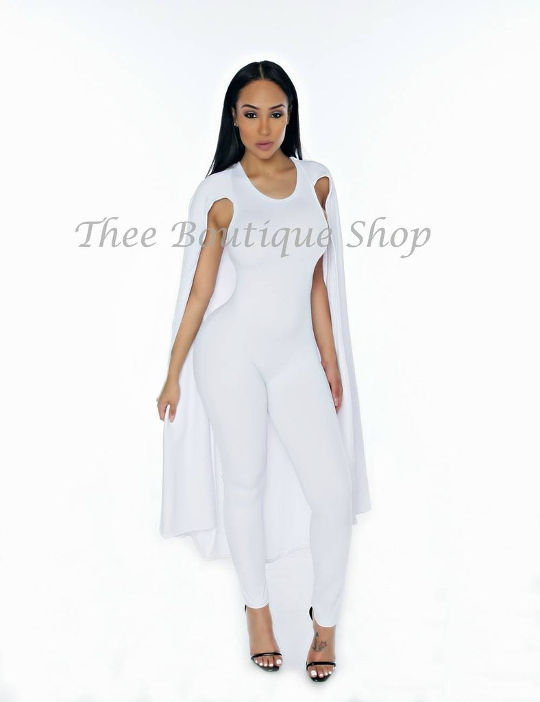 The Classic Spring Capelet Jumpsuit (White)