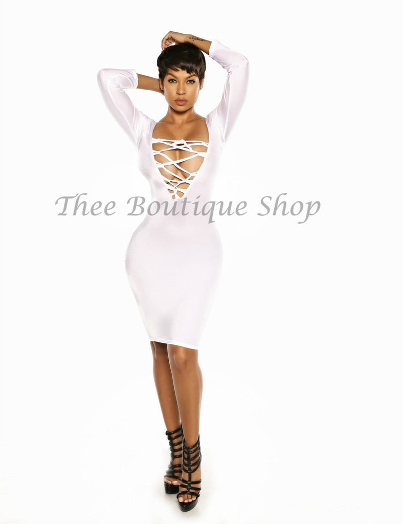 The Classic Lace Up Dress (White)