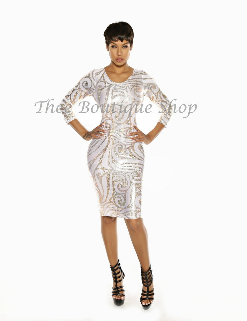 The Royal Hieroglyphics Dress (White)