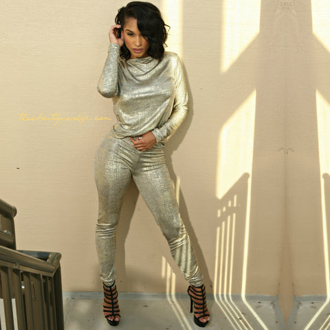 The Metallic Gold Dubai Joggers