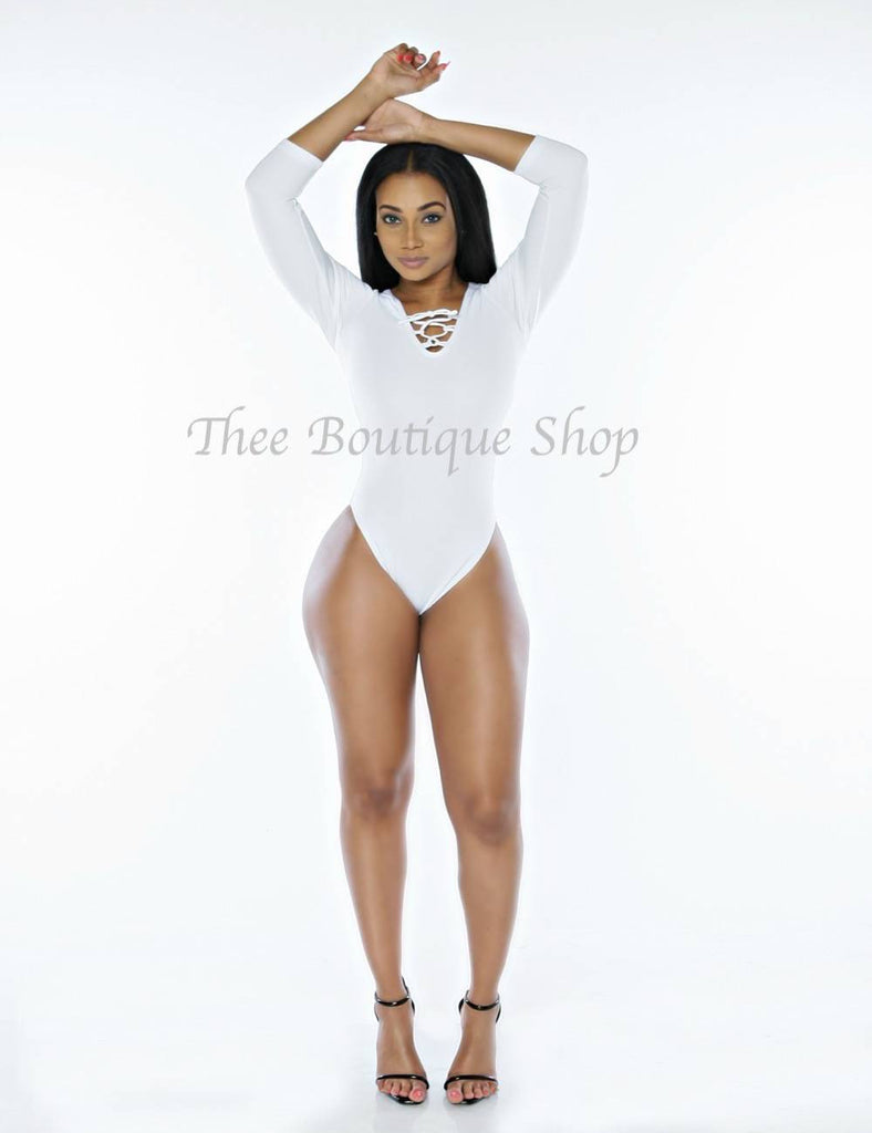 The Classic Double Lace Up Leotard Set (White) - Thee Boutique Shop