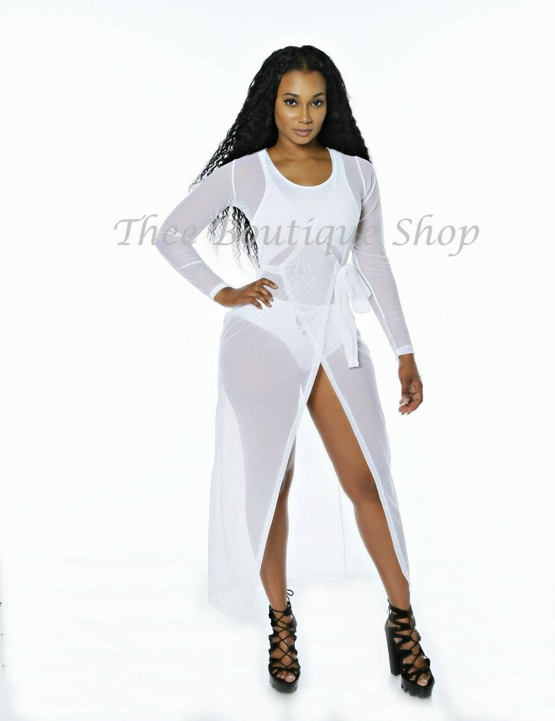 The Classic Mesh Wrap Swimsuit  Cover (White)
