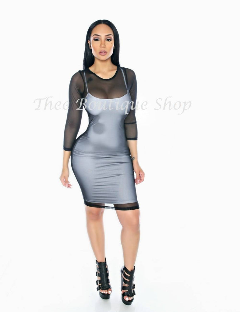 The Spring Double Mesh Dress (Black/White)