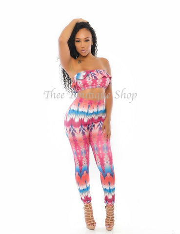 The Summer Tribal  Peplum Leggings Set (Pink)