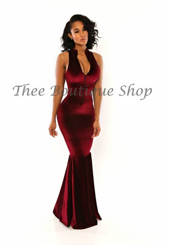 The Parisian Velvet Mermaid Dress (Wine)