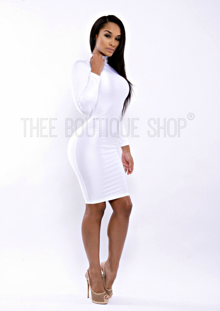 The Classic Body-Con Openback Dress (White) - Thee Boutique Shop