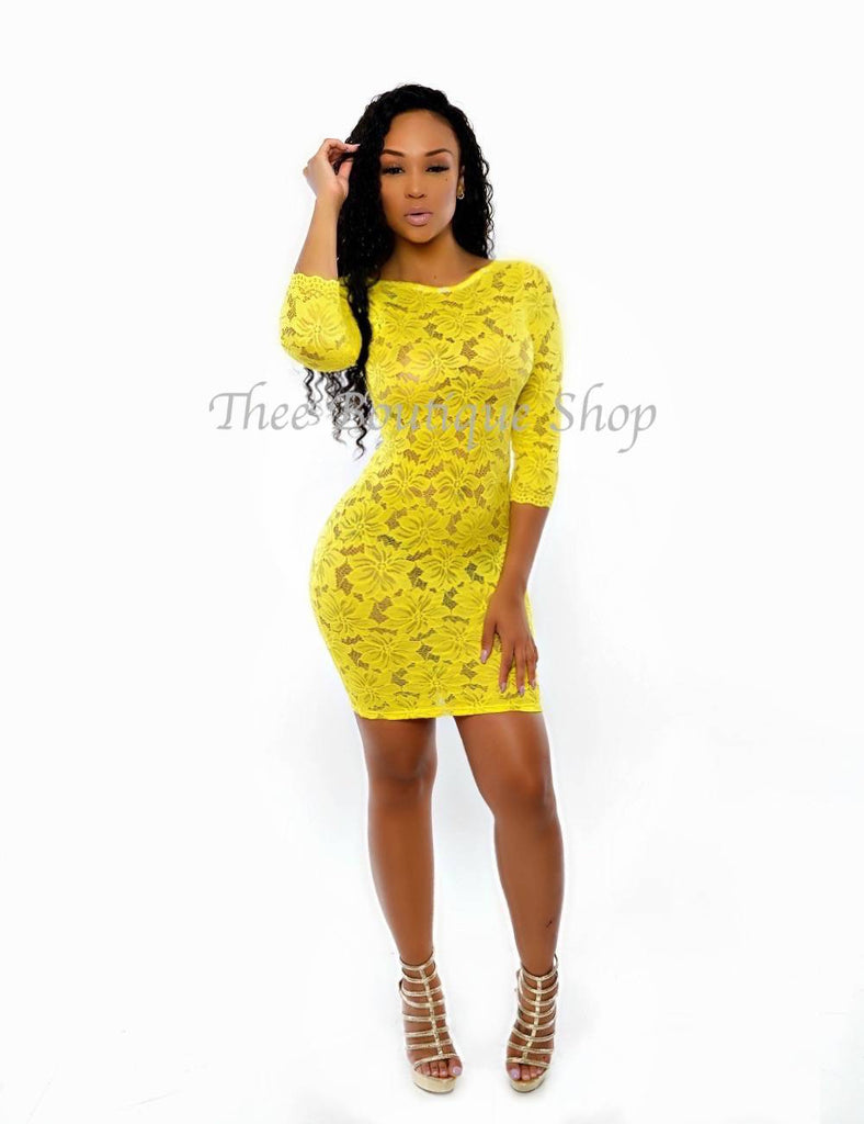 The Melrose Lace Dress (Yellow)