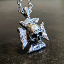 Load image into Gallery viewer, Ancient Iron Cross Skull Pendant