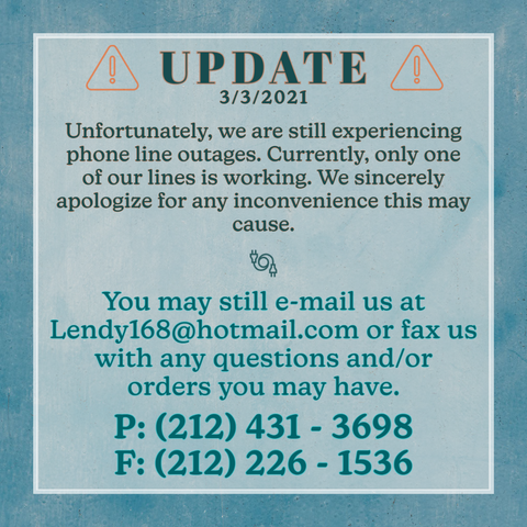 We are still experiencing phone line outages.