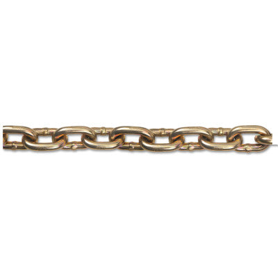 Grade 70 Transport Chains, Size 3/8 in, 75 ft, 6600 lb Limit, Yellow Dichromate