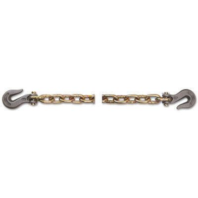 Grade 70 Transport Tiedown Chain Assemblies, 5/16 in, 4,700 lb Load, Yellow