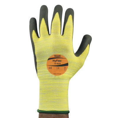 Hyflex Gloves with High Visibility, Yellow/Black, Size 10