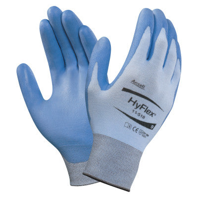 HyFlex Coated Gloves, 7, Blue/Gray