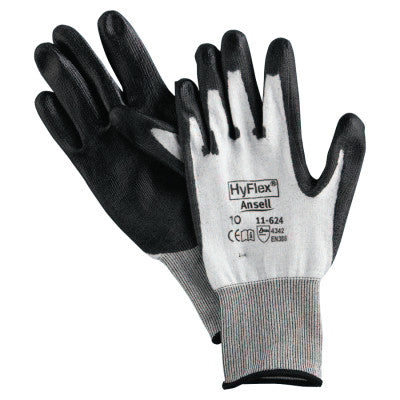 HyFlex 11-624 Dyneema/Lycra Work Gloves, Size 10, White/Black