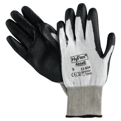 HyFlex 11-624 Dyneema/Lycra Work Gloves, Size 9, White/Black