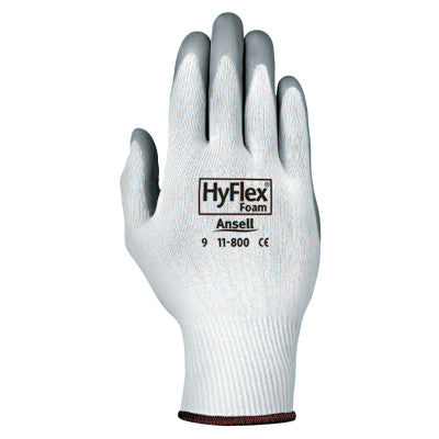 HyFlex Foam Gloves, 8, Gray/White