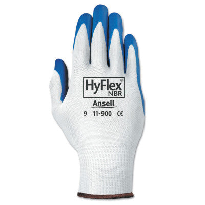 HyFlex NBR Gloves, 8, Blue/White