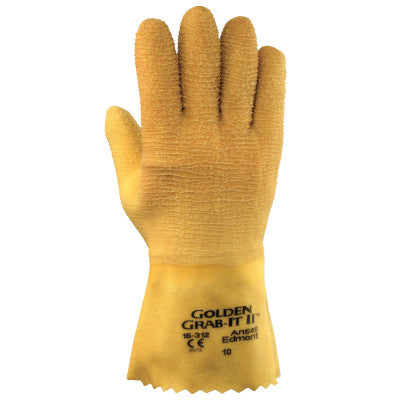 Golden Grab-It Gloves, 10, Gray/Yellow, Fully Coated