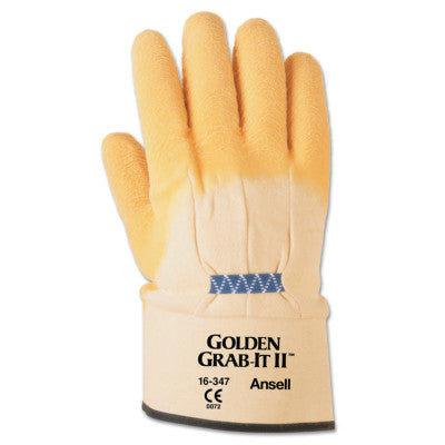 Golden Grab-It Gloves, 10, Gray/Yellow, Palm Coated