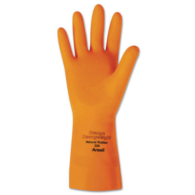 Heavyweight Natural Rubber Latex Gloves, Size 10, Citrus Orange