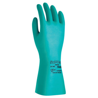 Solvex Nitrile Gloves, Gauntlet Cuff, Unlined, 22 mil, 18 in, Size 8, Green