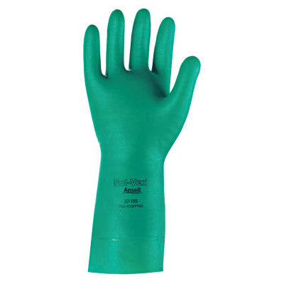 Solvex Nitrile Gloves, Gauntlet Cuff, Unlined, 15 mil, Size 10, Green