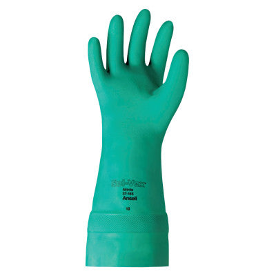 Solvex Nitrile Gloves, Gauntlet Cuff, Unlined, 22 mil, 15 in, Size 10, Green