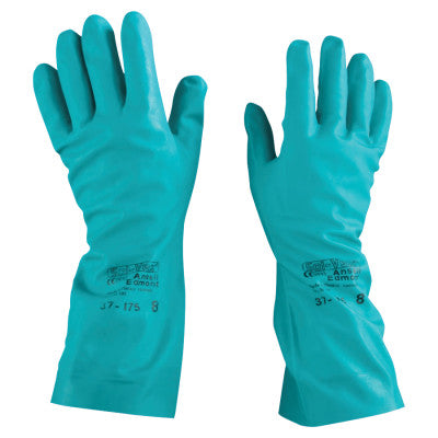 Solvex Nitrile Gloves, Gauntlet Cuff, Cotton Flock Lined, 15 mil, Size 8, Green