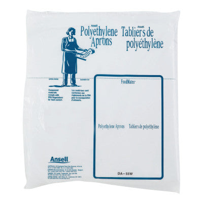Disposable Polyethylene Aprons, 28 in X 55 in, Polyethylene, White