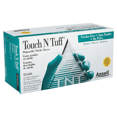 Touch N Tuff Disposable Gloves, Powder Free, Nitrile, 4 mil, 7.5 - 8, Green