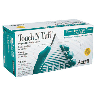Touch N Tuff Disposable Gloves, Powder Free, Nitrile, 4 mil, 9.5 - 10, Green