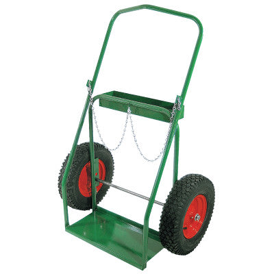 "Low-Rail Frame Dual-Cylinder Carts, Holds 9.5"" Cylinders, 16"" Pneumatic Wheels"