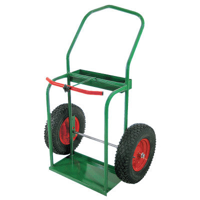 "High-Rail Frame Dual-Cylinder Cart, For 9.5"" Cylinders, 16"" Pneumatic Wheels"