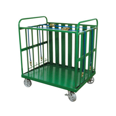 Heavy-Duty Cylinder Buggies, Holds 80 Cylinders, 6 in Steel Wheels