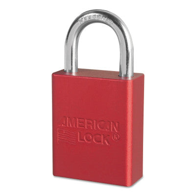 Solid Aluminum Padlocks, 1/4 in Diam., 1 in L X 3/4 in W, Red