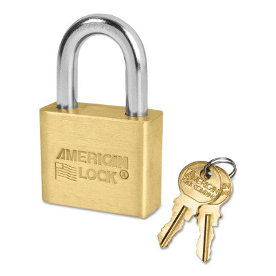 Solid Brass Padlocks, 5/16 in Length, 3/4 in, Yellow, Key D248