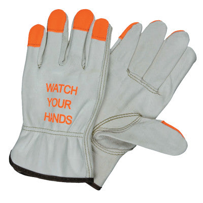 """Watch Your Hands"" Drivers Gloves, Small, Beige/Hi-Vis Orange/Red"