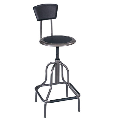 STOOL-HI BASE-W/BACK-BK