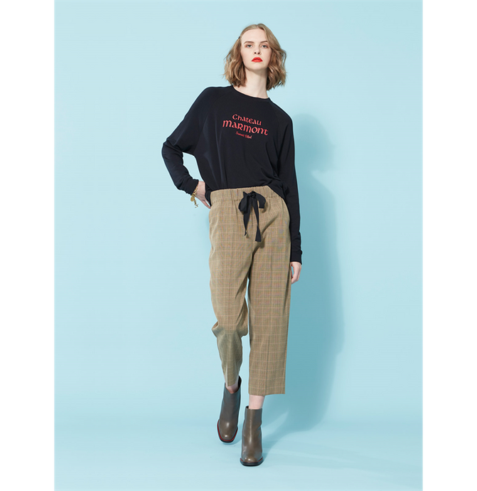 Vio Check Pant-Coffee Check