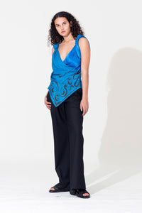 Knotted Scarf Top-Cobalt