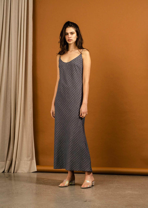 Duval Dress-Navy Check