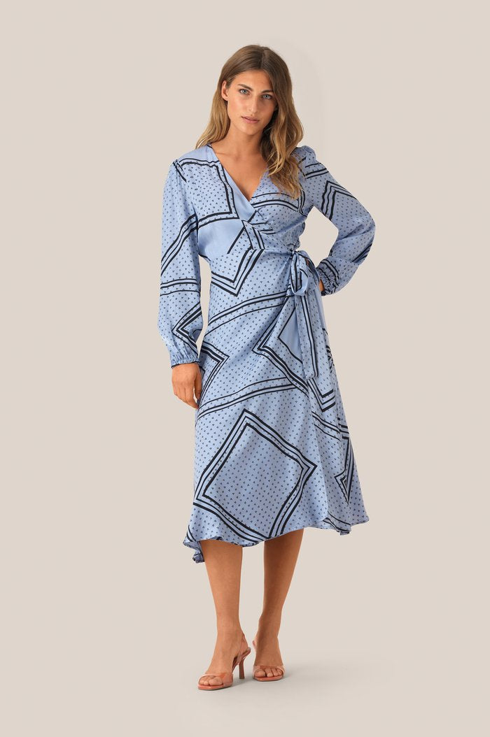 Isa LS Wrap Dress-Pale Iris