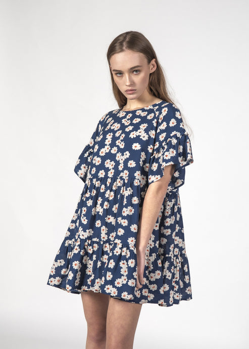 The Playful Dress in Navy Bloom