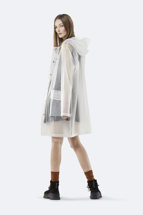 Hooded Coat-Foggy White